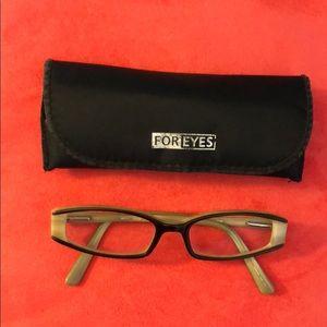 Vintage Norma Kamali brown and bone eyeglasses